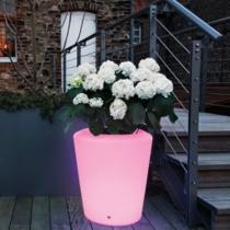 Maceteros Macetas con luz led luminosos, Dusseldorf, RGB, recargables