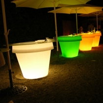 Maceteros Macetas con luz led luminosos, Big Roma, RGB, recargables