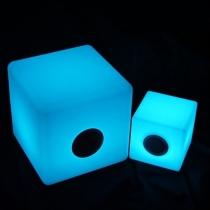 Cubo led, 40x40cm, RGB, recargable, música, altavoz y bluetooth