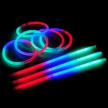 100 Pulseras luminosas fiesta, glow, tricolor