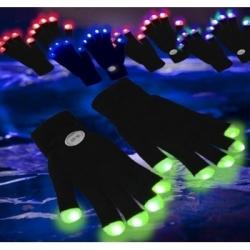 Guantes led negros con los dedos blancos
