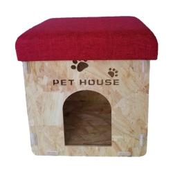 Caseta de madera para Perro o Gato Puff Asiento Plegable  (Varios colores)