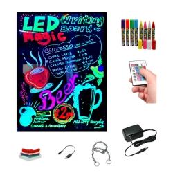 Pizarra led luminosa 30x40cm, RGB, acrílica + PACK 8 ROTULADORES