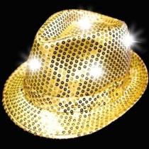 Sombreros Fedora, luminosos, oro