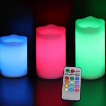 Velas led, RGB, con mando, pack 3