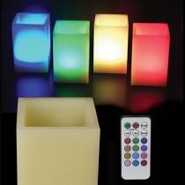 Velas led, de cera cuadradas, RGB, con mando