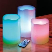 Velas led, de cera real, RGB, con mando, pack 3