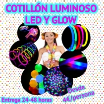 10 Cotillón Kit Luminoso LED y Glow Photocall Pack (SUPER)